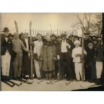 1922 Press Photo Members of Mount Royal Ski Club rehearse Masquerade in Ice.