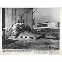 1954 Press Photo Airplane Wing Section Smashed into Fuel Tank in Indianapolis