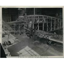 1942 Press Photo Aircraft frame at a Cleveland, Ohio plant - neb58555