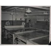 1940 Press Photo schematics room of plane production at Glenn Martin Co.