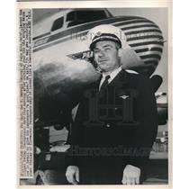 1949 Press Photo Ben Harrell Lands Clipper Kathay In San Francisco - neb94744