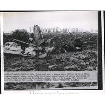 1955 Press Photo Springfield, Ill. Wreckage of Cesna plane crash killed 4 people