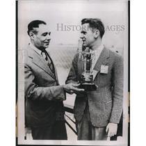 1937 Press Photo Pilot Bob Davis Receives Domingan Trophy from Y.M. Picardo