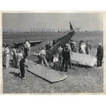 1937 Press Photo Plane piloted by John Mosive crash after it caught gust of wind