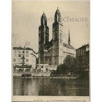 1919 Press Photo La Cathedrale, Zurich, Switzerland