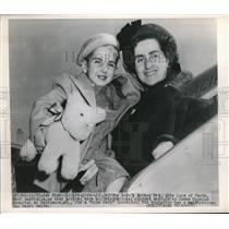 1948 Press Photo Jeffrey Lore & Mother Abie Lore enroute to John Hopkins Hosp