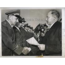 1956 Press Photo First Jet Pilots Receive Diplomas from Theodor Blank