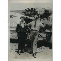 1929 Press Photo Endurance flyers Loren Wendell & Pete Rhinehart hope for 400 hr