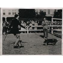 1936 Press Photo Woman with Difficult Pig at Pinehurst, NC Pig Races - nez07287