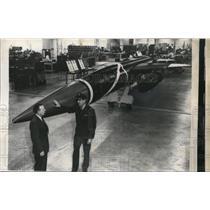 1957 Press Photo R.J Walling an air representative at Airplane Co.
