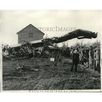 1931 Press Photo Wrecked plane in an animal farm