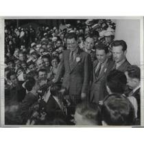 1937 Press Photo LA Welcomes Fliers Andrei Yumasheff, Andrei Danilin, M. Gromoff