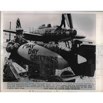 1950 Press Photo A3C Custer Pitts & bombs for a USAF F-84 plane