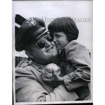 1956 Press Photo Maj.J.J. Clark III received gratitude from West Berlin Girl.