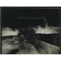 1923 Press Photo Montreal Mount Royal Toboggan Slide Lit Up At Night For Opening