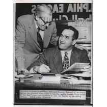 1953 Press Photo Phila.Pa GM of Eagles, V McNally & J Trimble Coach of the Year