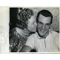 1961 Press Photo Boston English High School Slugger Bob Guindon & his Mother