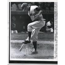 1963 Press Photo LA Angels' Wagner danced after fouling the ball to his foot.