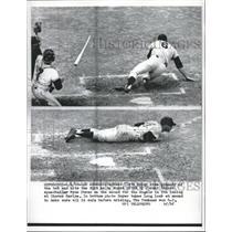 1962 Press Photo Clete Boyer Angels Ducks Pitch By Ryne Duren Yankee Pitcher MLB