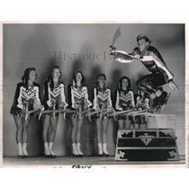 1948 Press Photo Skater Harris Legg Sails Over Pretty Pirates in New York