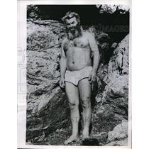 1956 Press Photo Christos Goutas Caveman Wearing Loincloth At Macedonian Home