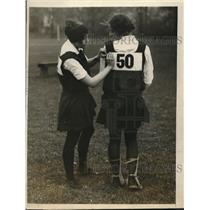 1926 Press Photo Mrs IT Monroe & Peggy Pitt at girls field hockey in NY