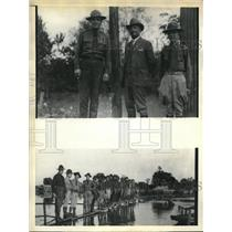 1933 Press Photo Gen. Grayson, Sheriff Purvis, Maj. A. R. Peeples at a levee