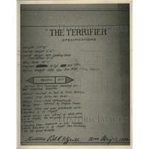 """1924 Press Photo Specifications of """"The Terrifier"""" plane built by Bob Fizgerald"""