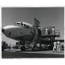 1966 Press Photo United Airlines Jet is being finished out