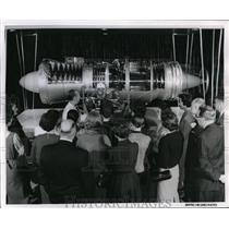 1960 Press Photo United IAirlines Pratt & WHitney J-57 engine on view