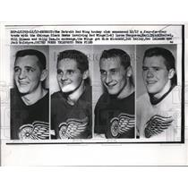1957 Press Photo Detroit Red Wings L Ferguson, E Reibel, B Dinsen, B Dea