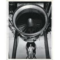 Press Photo Ground Technician at Open Air Test Facility, Rolls Royce Aero Div.