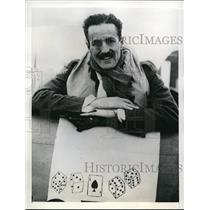 1941 Press Photo Richard F. Patterson By His Plane Which Bears Dice And Spades