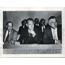 1950 Press Photo Benjamin Cohen, Trygve Lie, Andrew Cordier at Press Conference