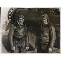 1934 Press Photo Lt Theodore Anderson, Lt AJ Lehmab at Newark NJ US Airmail