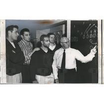 1956 Press Photo Chicago Bears Football Coach Paddy Driscoll Ed Brown B. Watson