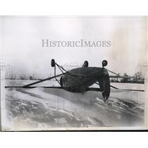 1935 Press Photo Plane Landed Upside Down in Snow/Heavy Wind, Pilot Bob Supple