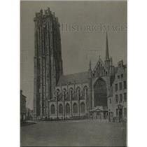 1918 Press Photo Malines City Belgium Cathedral Saint-Rombaut