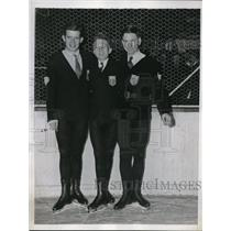 1925 Press Photo George Hill, Robin Lee, Erle Reiter figure skaters in NYC