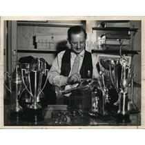 1936 Press Photo Junior aviator trophies on display in DC