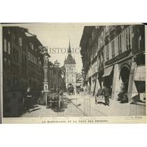 1919 Press Photo La Marktgasse et la Tour des Prisons in Berne City, Switzerland