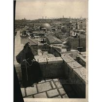 1924 Press Photo Monk Looking Out Over Mount of Olives, Holy Land