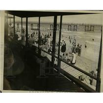 1927 Press Photo Crowded Breakers Beach, Palm Beach Florida Winter Season