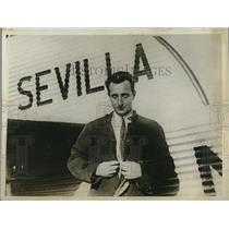 1927 Press Photo Don Jose Ansaldo pilot if inaugural new service plane