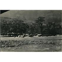 1932 Press Photo Ranchers in Shoshone River between Wyoming and Montana