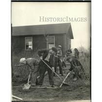 1919 Press Photo Boys laying sidewalks at Mooseheart Illinois