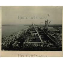 1918 Press Photo Atlantic coast shipyard where a reinforced concrete ship under