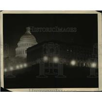 1922 Press Photo US Capitol Dome seen in a night view