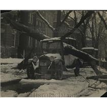 1924 Press Photo Tree Falls on Taxi on First Day Spring in Washington D.C.