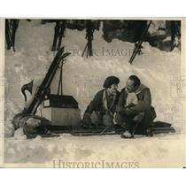 1925 Press Photo Mrs. Fransisca Van der Klay and Mr. Baillet at Winter Sports